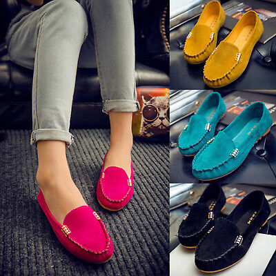 Women Ladies Slip On Suede Moccasin Loafers Flat Pumps Anti Skid Shoes Soft Size