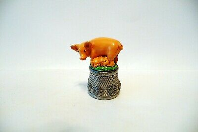 Thimble Pewter Stephen Frost Handpainted Topper Of A Sow & Piglets