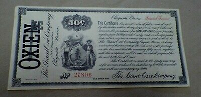 19th C Oxien The Giant Oxie Company Augusta Maine Certificate Quack Medicine
