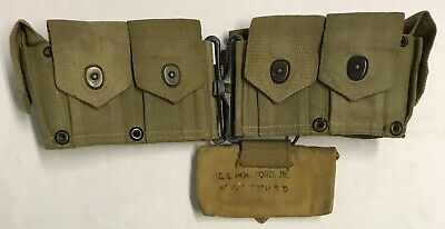Orig WWII 1944 Dated USMC Boyt 10 Pocket M1 Garand Ammo Belt w/First Aid Pouch
