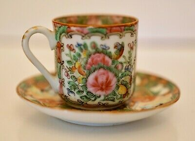 Antique Chinese Tea Cup & Saucer Handpainted 19th C. Rose Medallion