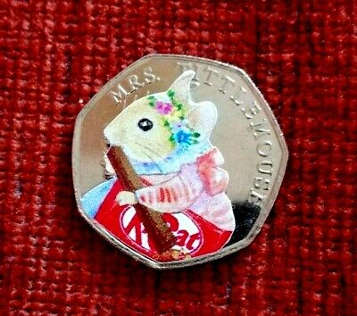 2018  Mrs. TITTLEMOUSE 50p piece + decal from a sealed bag