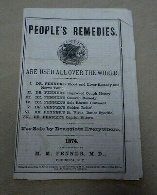 1874 People's Remedies Fenner Fredonia NY Quack Medicine Bitters Advertising