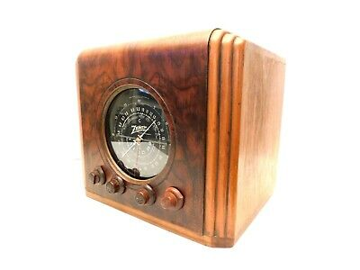 VINTAGE 1930s ZENITH CLASSIC CUBED BLACK DIAL ANTIQUE OLD RADIO RESTORED WORKS