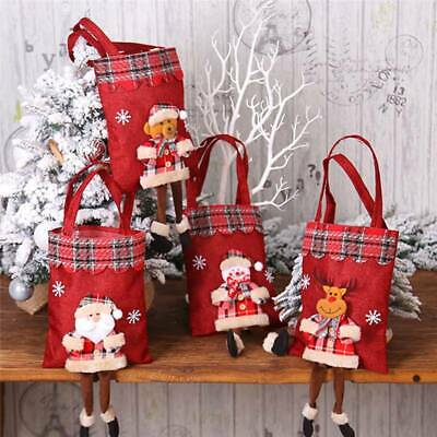 Christmas Candy Bags Kids Trick Treat Tote Bags 3D Cartoon Party Gift H