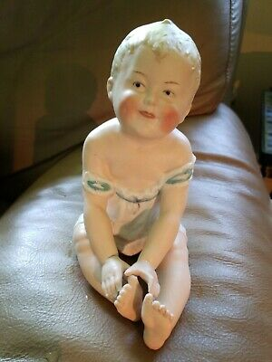 Antique Gebruder Heubach Piano Baby Boy Touching Toes German Bisque Porcelain