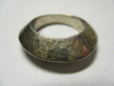 Sterling Silver Estate Vintage Tapered Solid Chunky Hammered Band Ring Size 6
