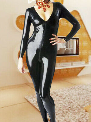 New Style Latex Women Black Niedriger Brustkorb Sexy Full Cover Suit 0.4mm S-XXL