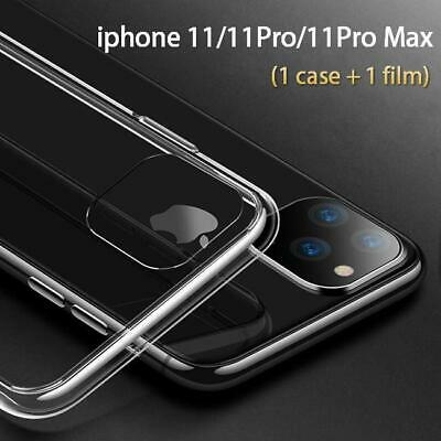 Slim Clear TPU Case For Apple IPhone 11 Pro Max+Tempered Glass Screen Protector