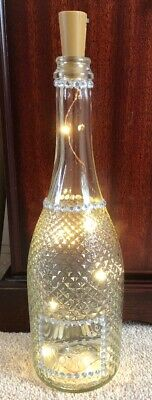 HAND DECORATED PROSECCO WINE BOTTLE - Lights Up - Very Pretty