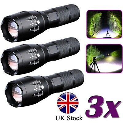 Police 20000LM T6 LED 18650 Super Bright Zoom Flashlight Powerful Lamp Torch *
