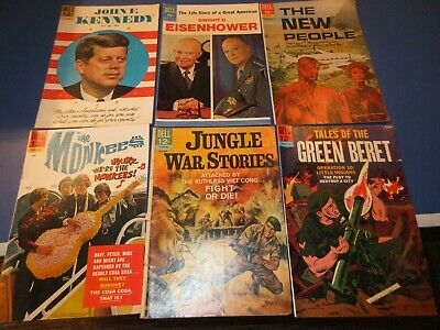 Dell comics Silver age Lot of 6 VG to Fine JFK Eisenhower Monkees War Jungle