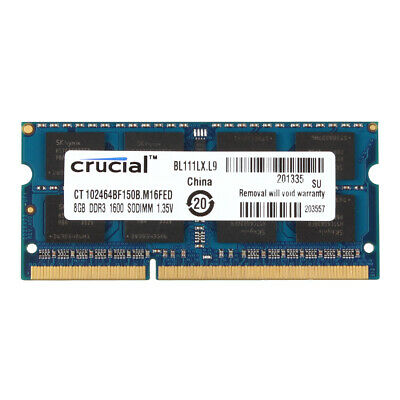 Crucial 8GB 2RX8 PC3L-12800S DDR3 1600MHz 204pin SO-DIMM RAM Laptop Memory @MY