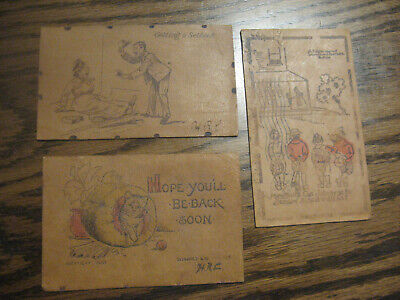 Vintage Leather 3X5 Post Cards 1906 Group Of 3