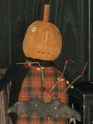 PRIMITIVE Folk Art Pumpkin Doll Fall Halloween Handcrafted