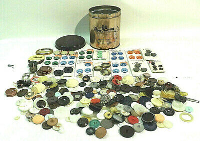 Lot of  Mixed Vintage  buttons some new on card 1 lb 6 oz tin full