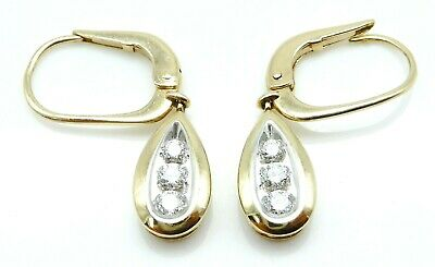 BEAUTIFUL Pair of Solid 14k Yellow Gold / .30 CT TWT Diamonds Ladies Earrings