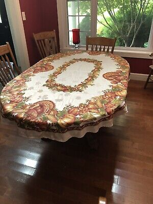 Autumn Harvest Tablecloth 54x80 Turkey Pumpkins Apple Thanksgiving Fall Leaves