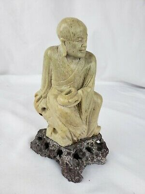 """Superb vintage chinese detailed carved stone figurine, 6 1/4"""""""