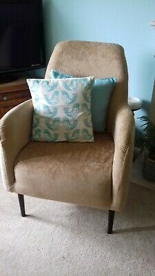 Excellent Yellow Accent Armchair Retro Fabric Chair Mid Century Room Gamerscity Chair Design For Home Gamerscityorg