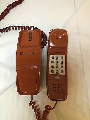 Vintage Tiger Orange Trimline Phone, TouchTone, Original, Western Electric WORKS