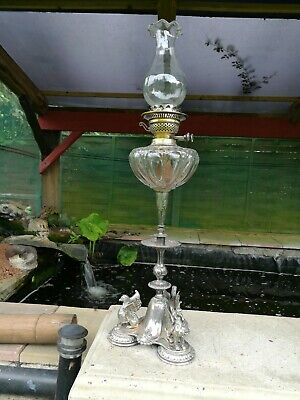 antique victorian oil lamp table lamp , supercut glass fount and silver plate