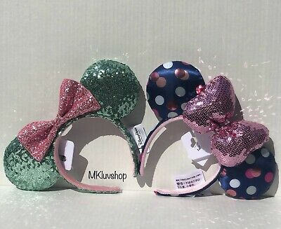 Disney Parks Minnie Mickey Ears Navy Polka Dot Pink Bow + Green Pink Bow NWT