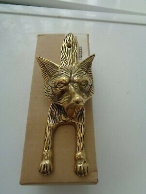 Boxed Solid Brass Fox Head Door Knocker