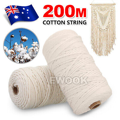 200m 3mm Macrame Beige Cord Twisted Rope Hand Craft Cotton String