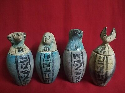 Rare Ancient Egyptian Antiques 4 Canopic Jars ( 990–969 BCE)