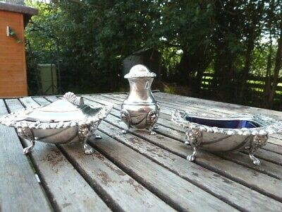 Ornate Vintage Lion Head Silver Plate Viners Three Piece Cruet Set With Liners.