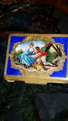 Antique 800 Silver Gilded Enameled Sweatheart Scene Compact