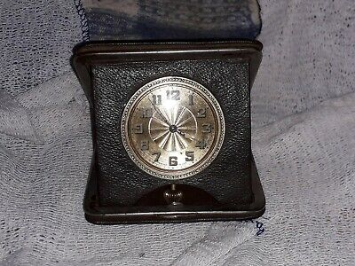 Vintage Swiss Made Travel Clock Great Face Working