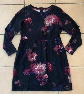 JOULES French Navy Floral Jersey Dress, UK Size 14 (with Pockets)