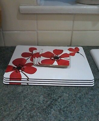 Dunelm Poppy 4 Mats And 4 Coasters Lovely