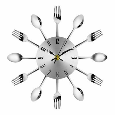 Kitchen Utensils Wall Clock Stainless Steel Cutlery Clocks Knife and Fork Spoon