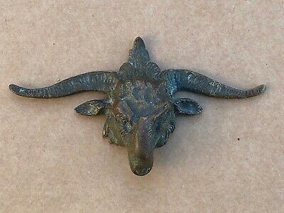 old bronze rams head ! nice patina number 192