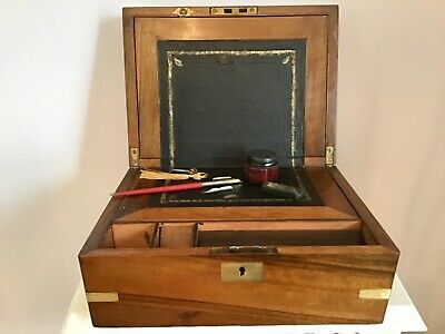 A Victorian C1890 Writing Slope In Figured Walnut And Brass.comes With Contents