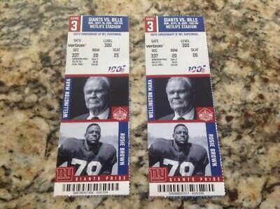 1 Unused New York Giants V.s Buffalo Bills Sept 15, 2019  Ticket Stub.