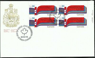 Canada sc#916 New Constitution, UR Imprint Block, FDC