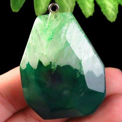 F08794 Faceted Green Druzy Geode Agate Pendant Bead 46x34x13mm