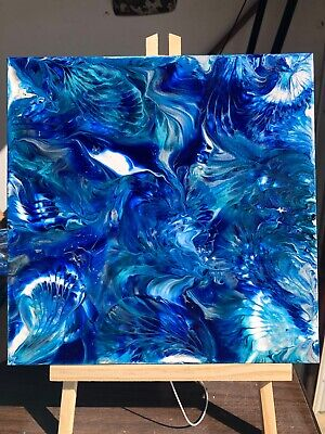 Blue Lagoon acrylic pour painting, Liquitex phthalocyanine blue, floetrol