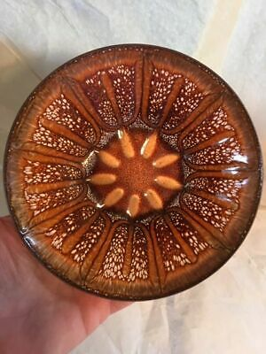 """Fantastic Mid Century Abstract Enamel Copper Bowl, Jane Glass, 5 1/2""""-Excellent"""