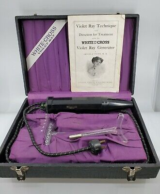Very Rare Antique White & Cross Violet Ray Generator w/ case two glass wands