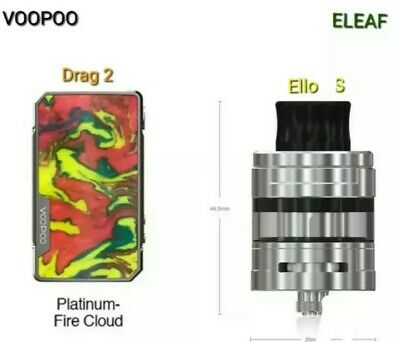 1 Box Drag 2 Platine 177 W  Fire  cloud (Voopoo) + 1 Ello S silver 2 ml (Eleaf)