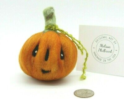 "Halloween Primitive Pumpkin Folk Art Doll Felted Wool Melissa Philbrook ""Anton"""