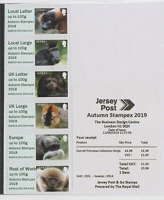 "Post & Go Jersey Primates ""Autumn Stampex 2019"" First Day Collectors Strip"