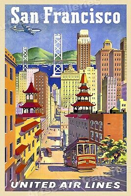 1950s San Francisco Downtown Skyline Vintage Style Travel Poster - 20x30