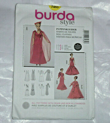 BURDA Sewing Pattern #7485 DOLL CLOTHES BARBIE DOLL FORMAL GOWN- Brand New Uncut