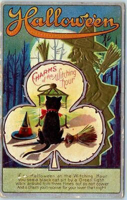 """HALLOWEEN Postcard """"Charms of the Witching Hour"""" Black Cat Witch Hat Broom 1913"""